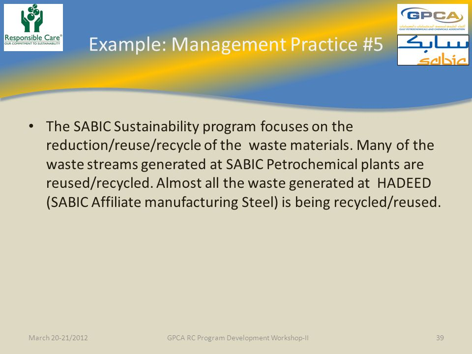 Example: Management Practice #5