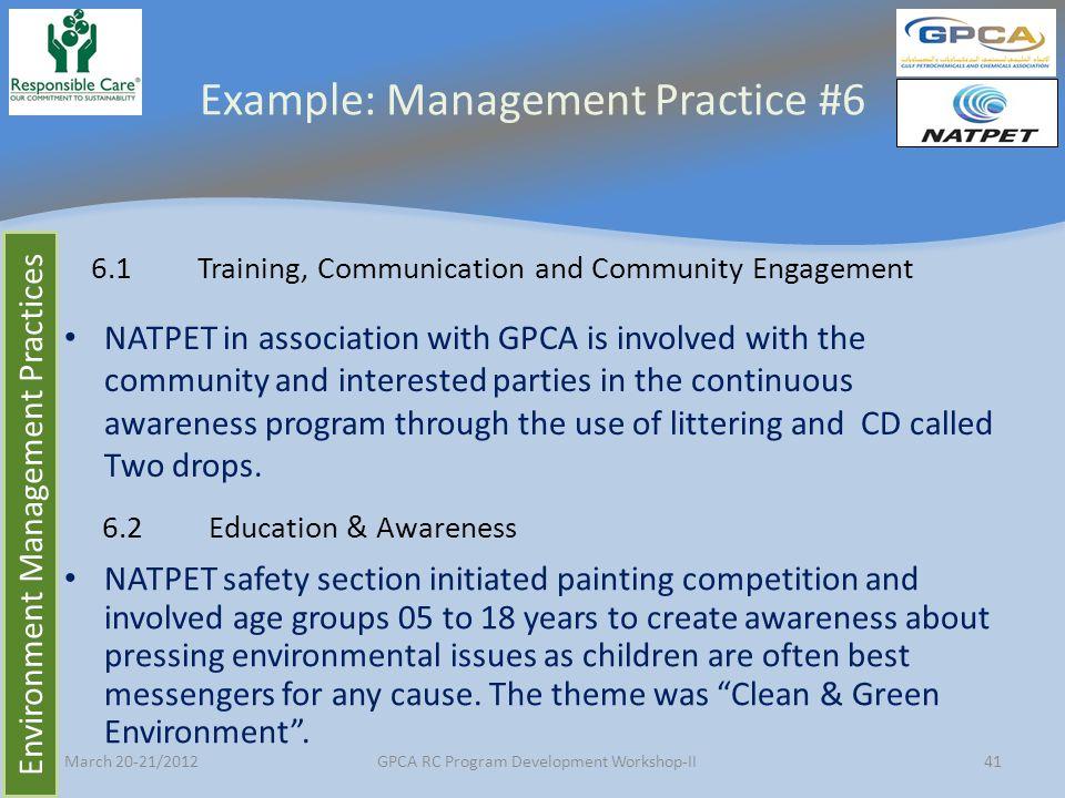 Example: Management Practice #6