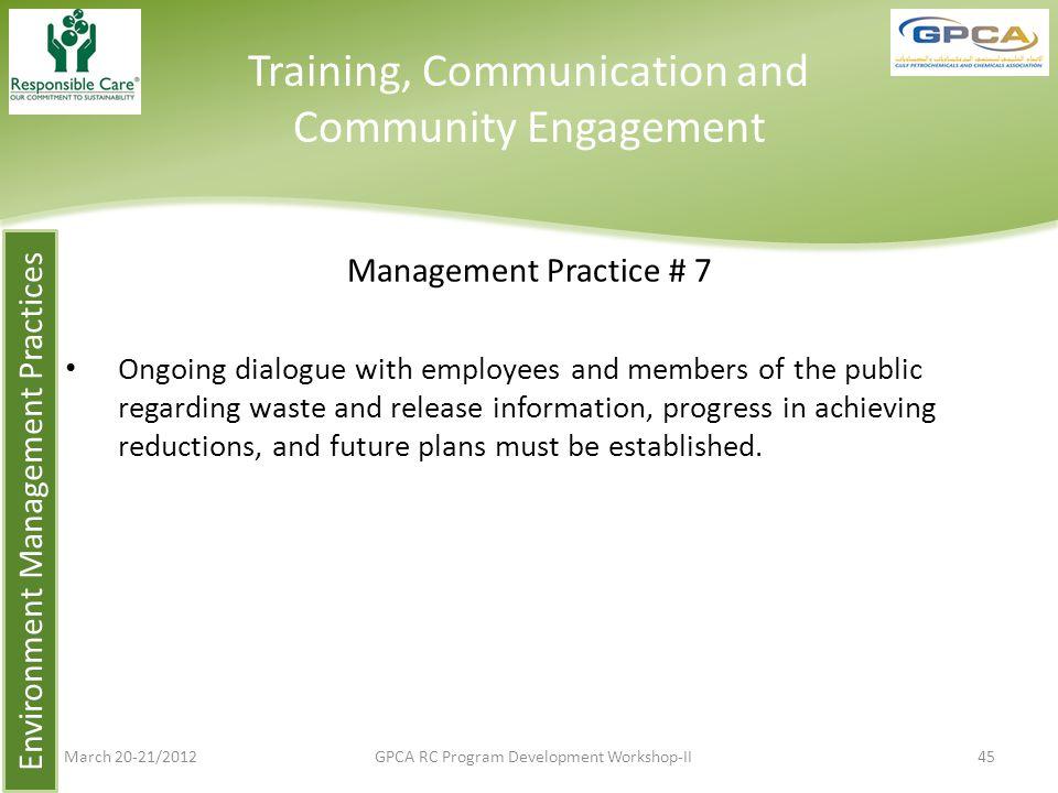 Training, Communication and Community Engagement