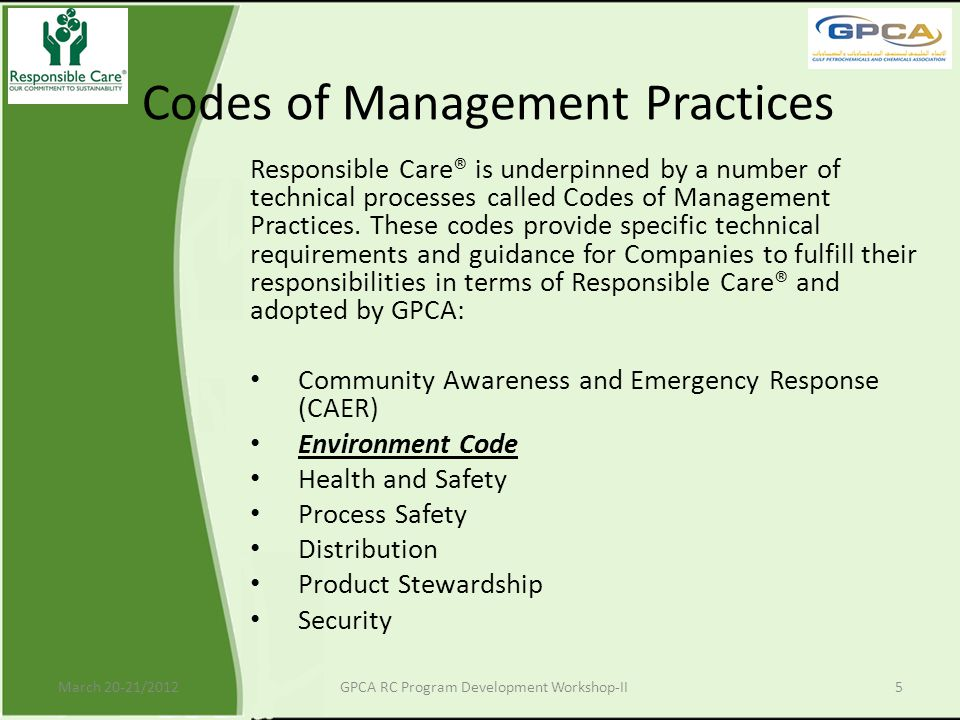 Codes of Management Practices
