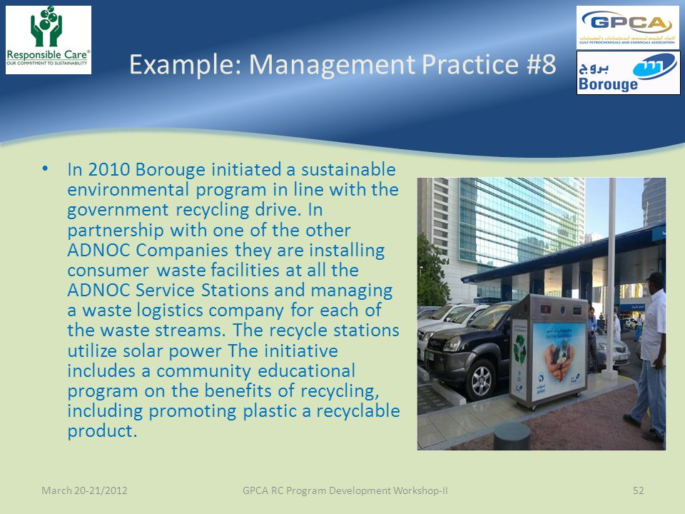 Example: Management Practice #8