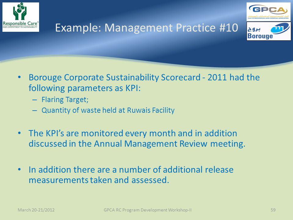 Example: Management Practice #10