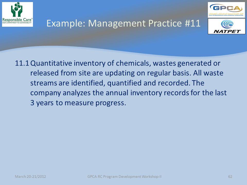 Example: Management Practice #11