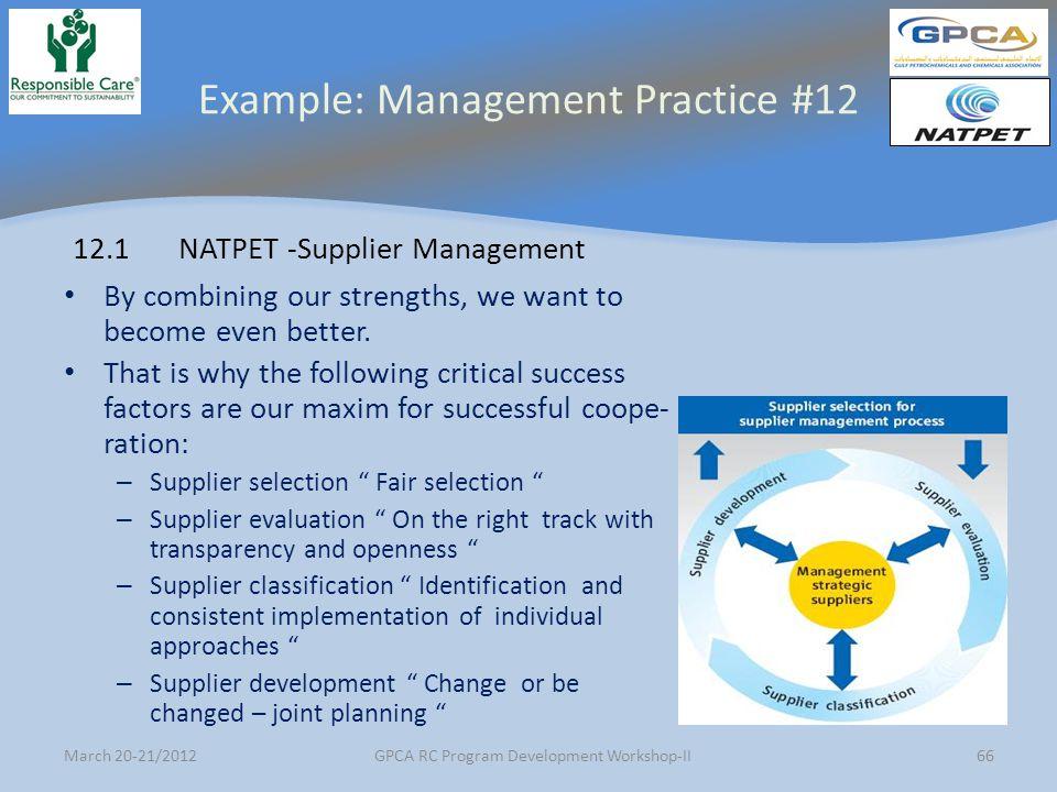 Example: Management Practice #12