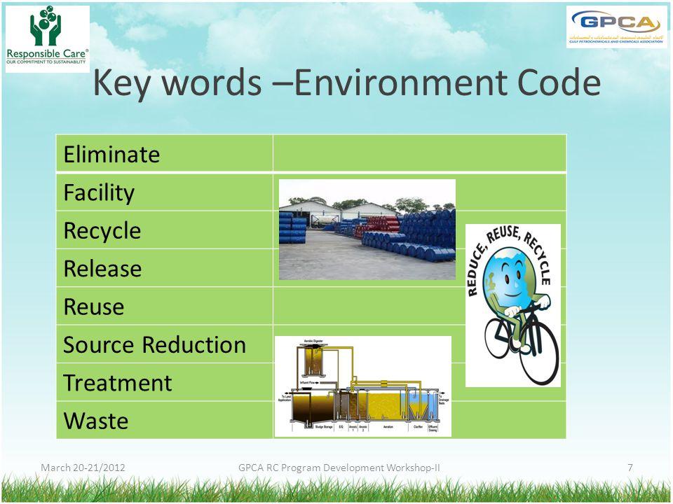 Key words –Environment Code