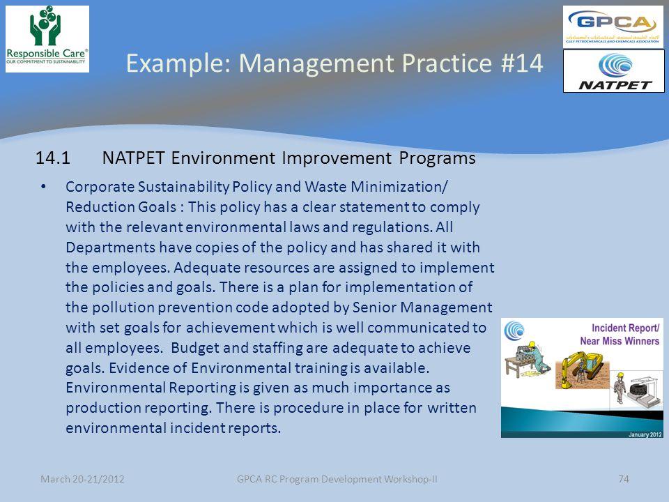 Example: Management Practice #14