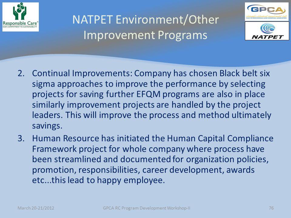 NATPET Environment/Other Improvement Programs