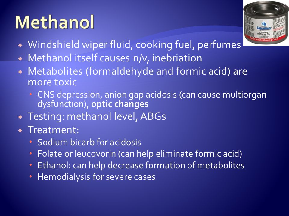 Methanol Windshield wiper fluid, cooking fuel, perfumes