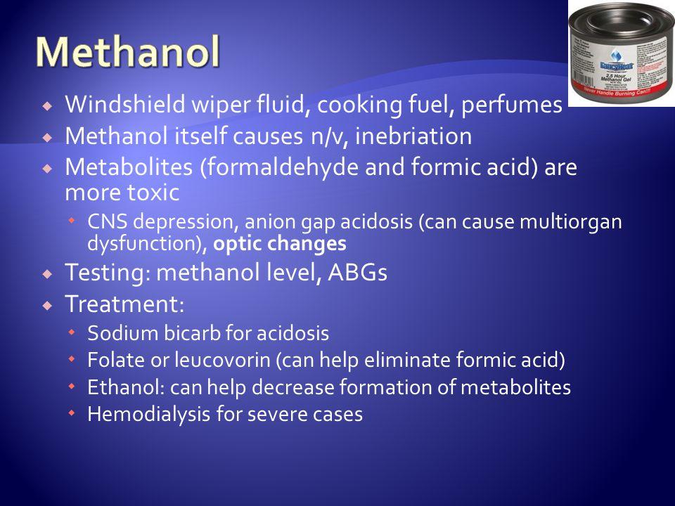 Methanol Windshield wiper fluid, cooking fuel, perfumes