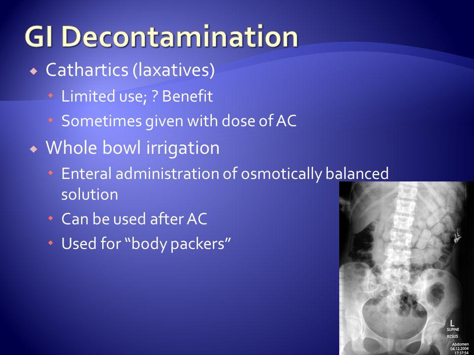 GI Decontamination Cathartics (laxatives) Whole bowl irrigation