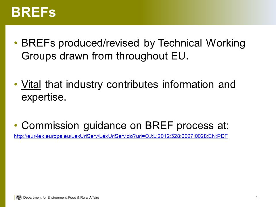 BREFs BREFs produced/revised by Technical Working Groups drawn from throughout EU. Vital that industry contributes information and expertise.