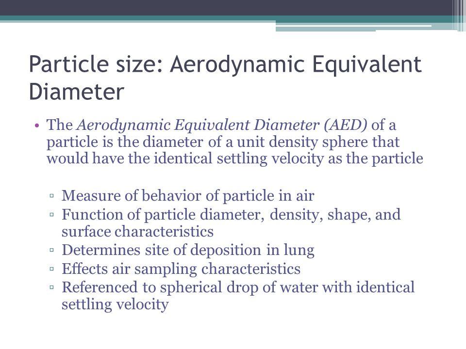 Particle size: Aerodynamic Equivalent Diameter