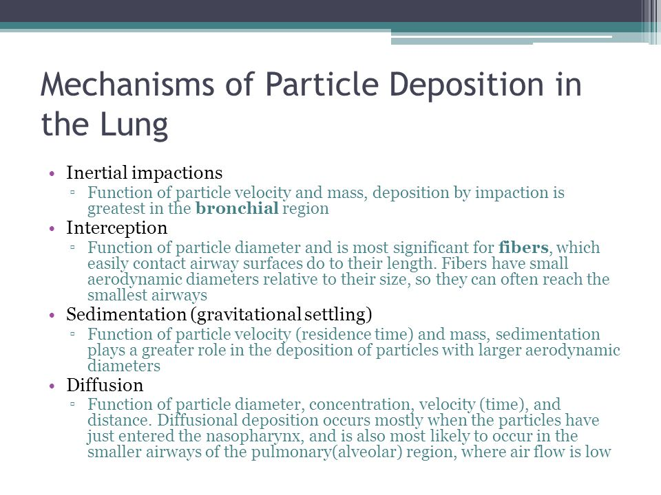 Mechanisms of Particle Deposition in the Lung