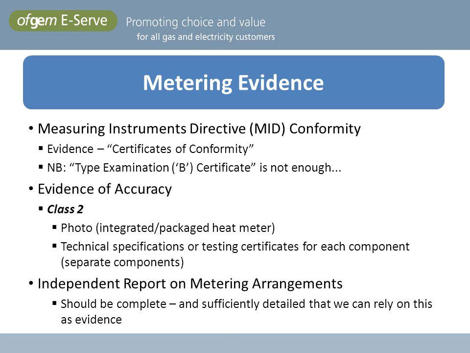 Metering Evidence Measuring Instruments Directive (MID) Conformity