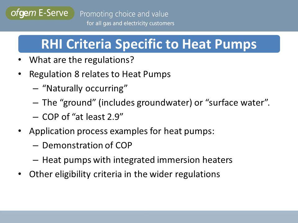 RHI Criteria Specific to Heat Pumps