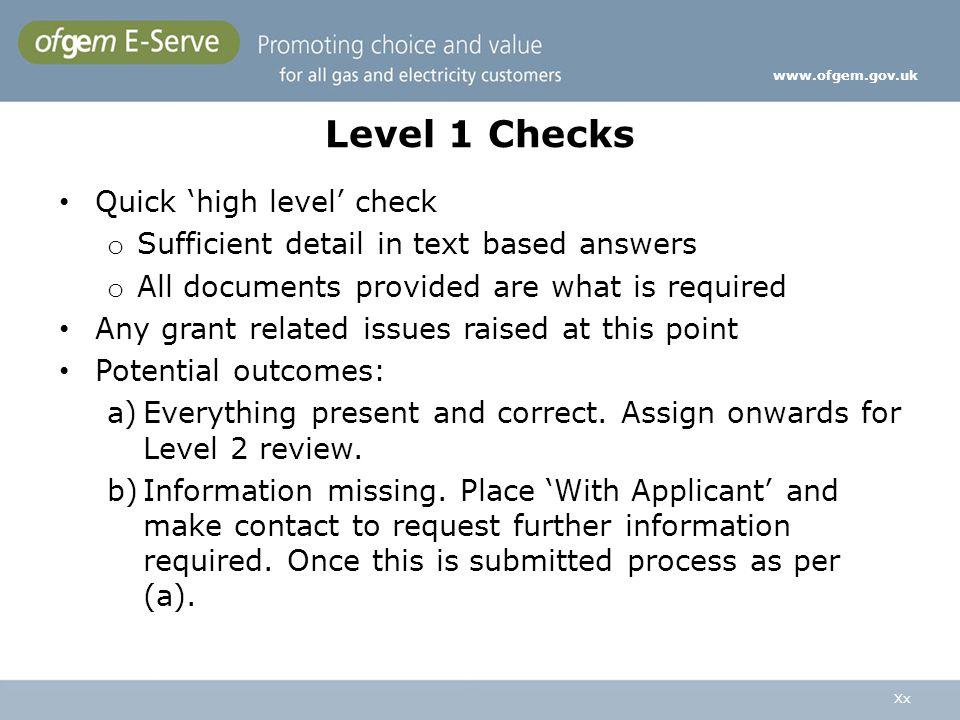 Level 1 Checks Quick 'high level' check