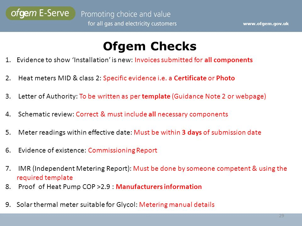 www.ofgem.gov.uk Ofgem Checks. Evidence to show 'Installation' is new: Invoices submitted for all components.