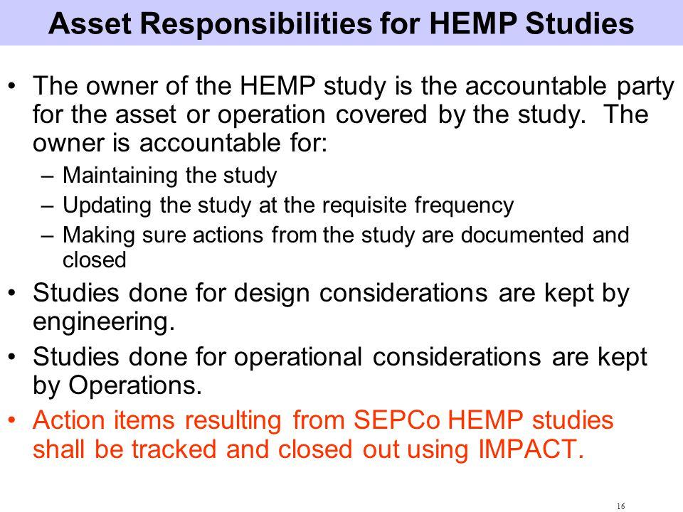 Asset Responsibilities for HEMP Studies