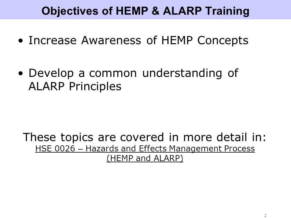 Objectives of HEMP & ALARP Training