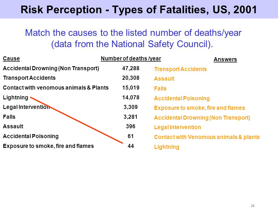 Risk Perception - Types of Fatalities, US, 2001