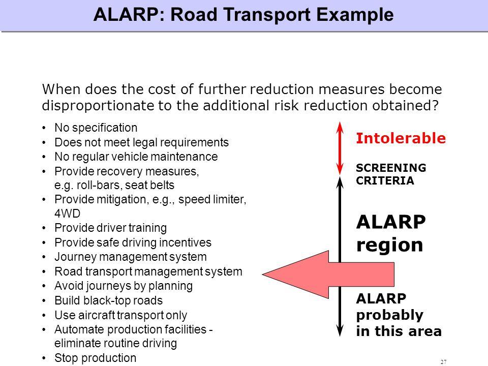 ALARP: Road Transport Example