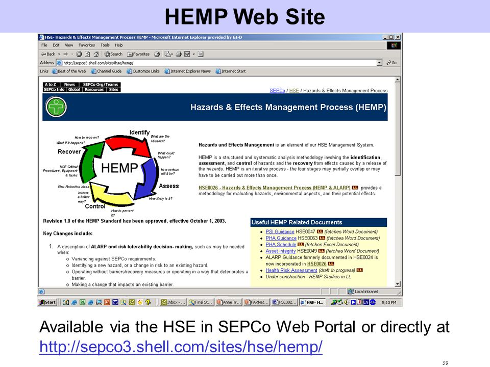 HEMP Web Site Available via the HSE in SEPCo Web Portal or directly at