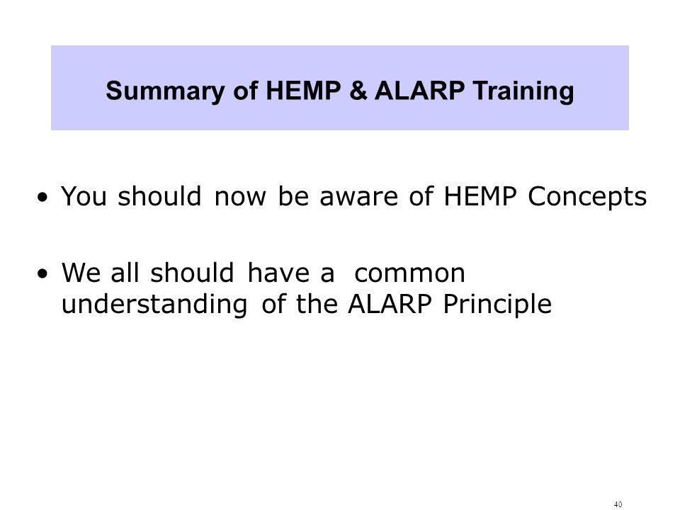 Summary of HEMP & ALARP Training