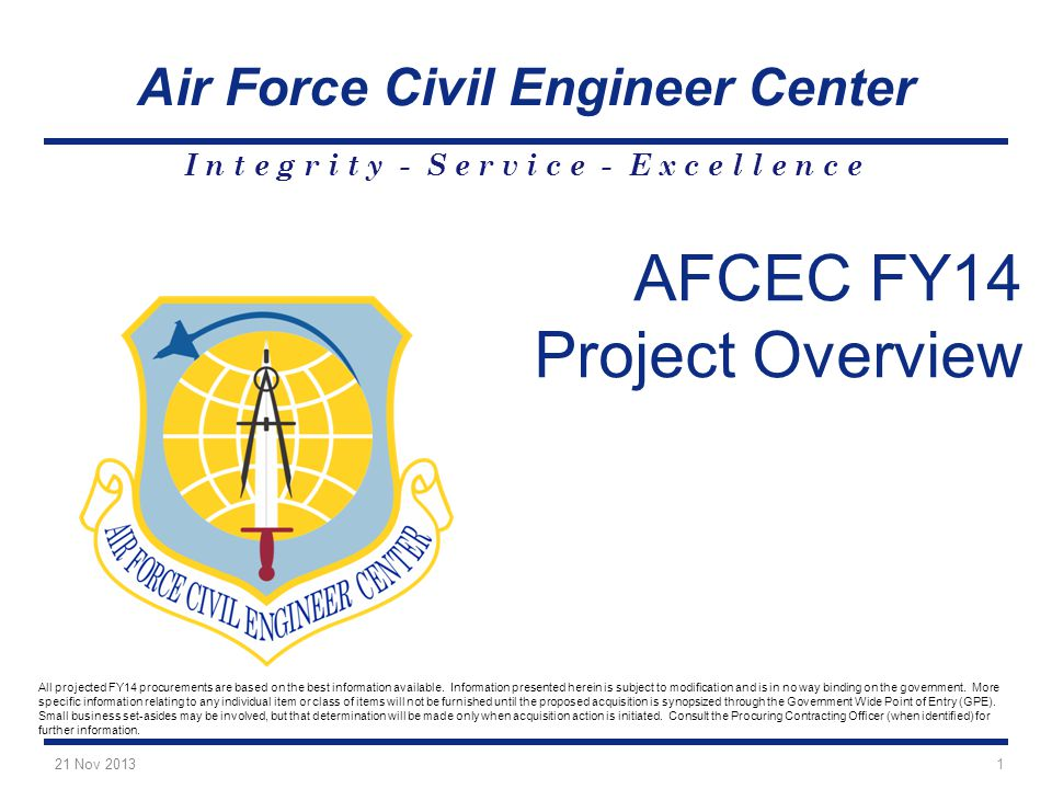 AFCEC FY14 Project Overview 21 Nov 2013 1