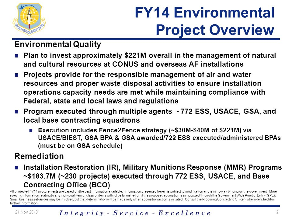 FY14 Environmental Project Overview