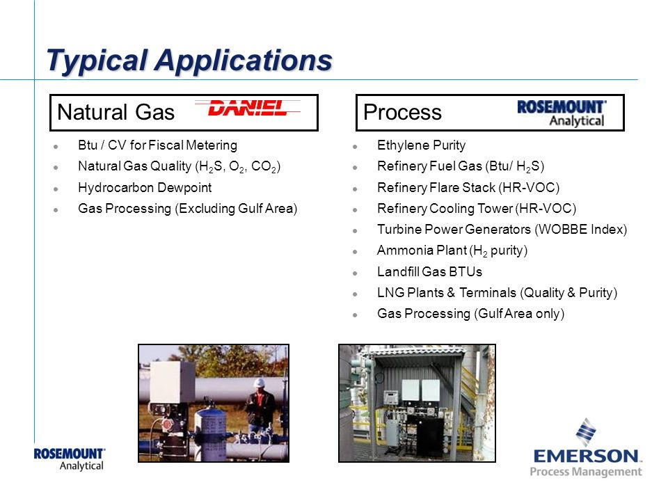 Typical Applications Natural Gas Process Btu / CV for Fiscal Metering