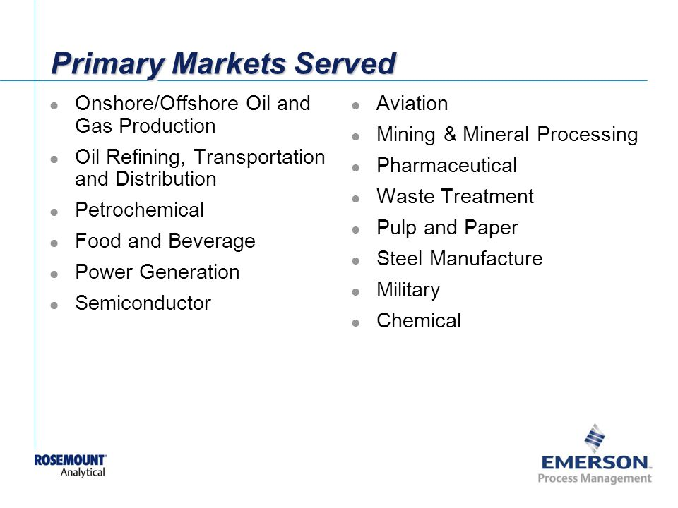 Primary Markets Served