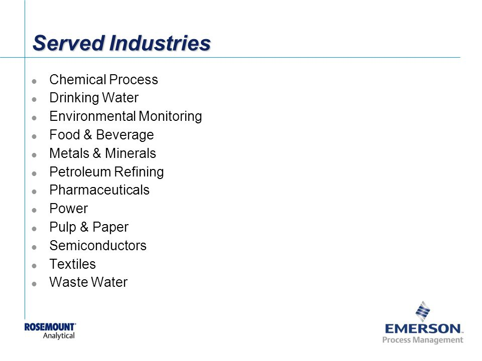 Served Industries Chemical Process Drinking Water