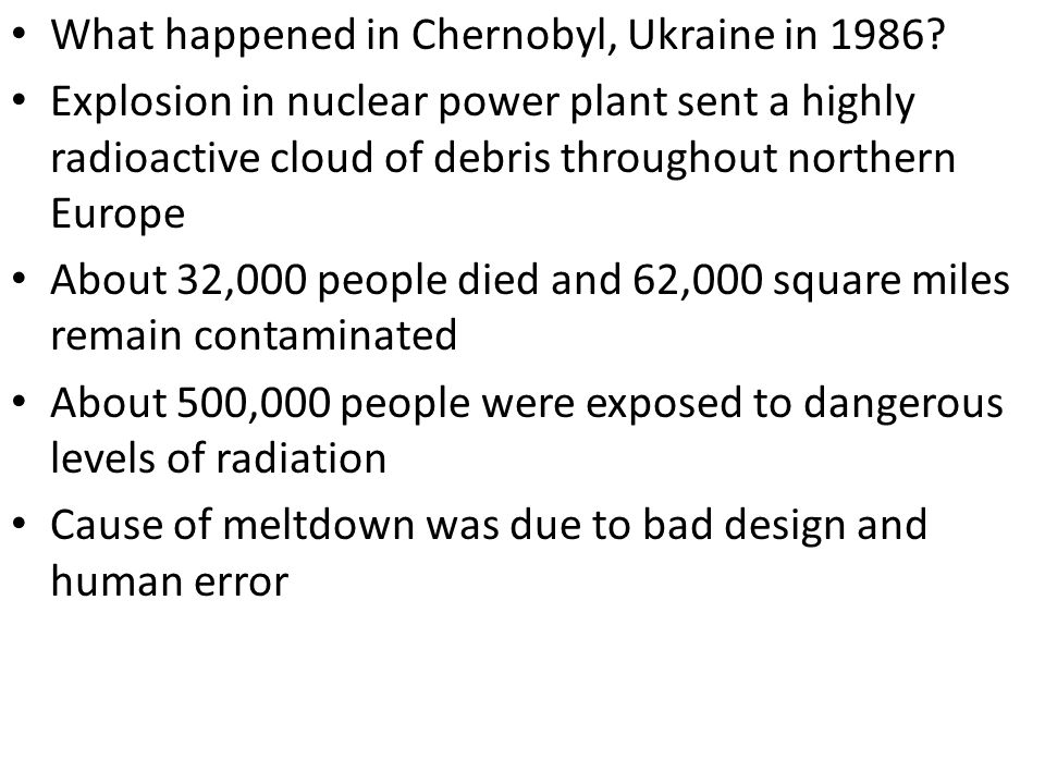 What happened in Chernobyl, Ukraine in 1986
