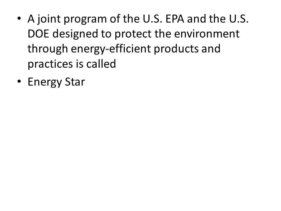 A joint program of the U. S. EPA and the U. S
