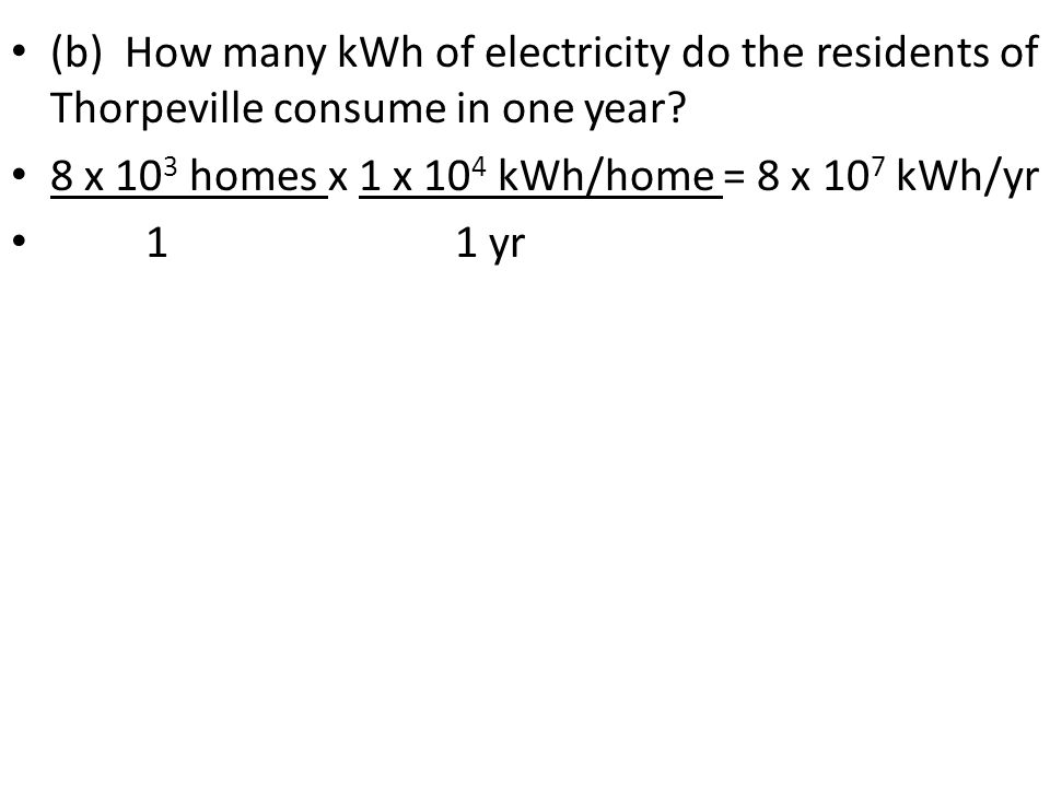 (b) How many kWh of electricity do the residents of Thorpeville consume in one year