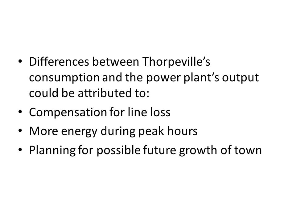 Differences between Thorpeville's consumption and the power plant's output could be attributed to: