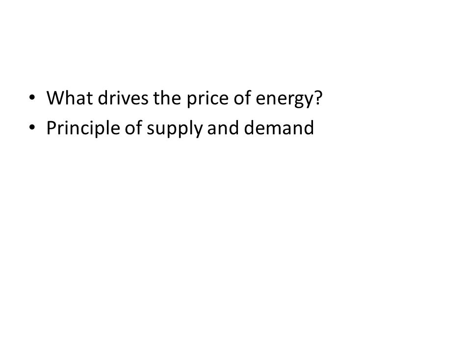 What drives the price of energy