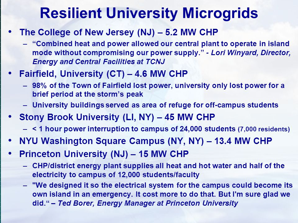 Resilient University Microgrids