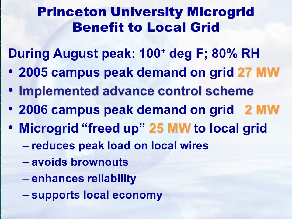 Princeton University Microgrid Benefit to Local Grid