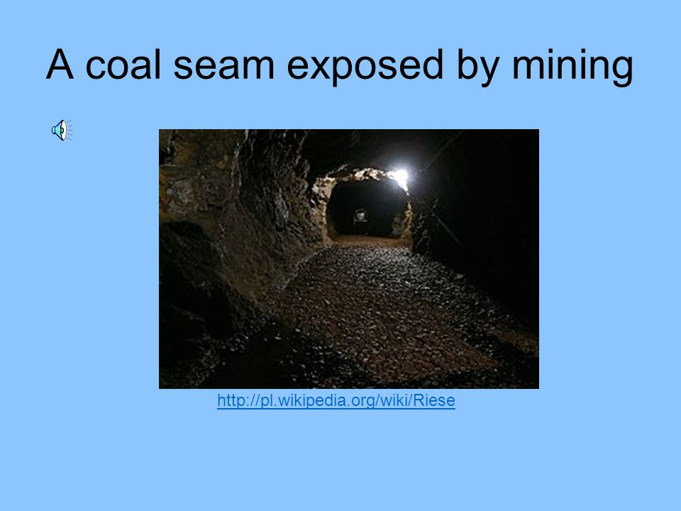 A coal seam exposed by mining