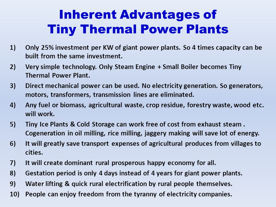 Inherent Advantages of Tiny Thermal Power Plants