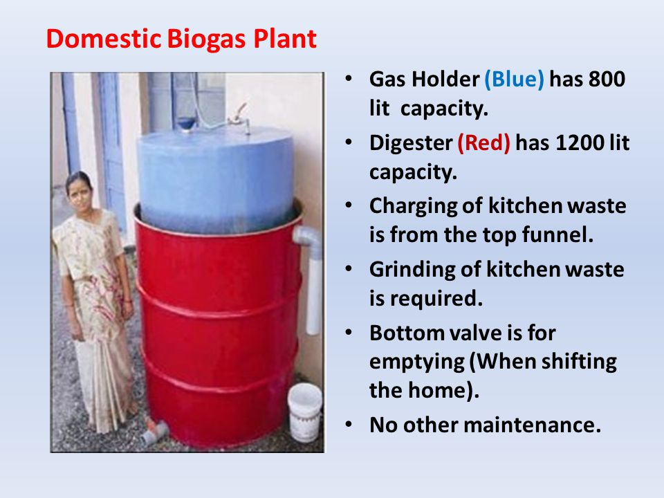 Domestic Biogas Plant Gas Holder (Blue) has 800 lit capacity.