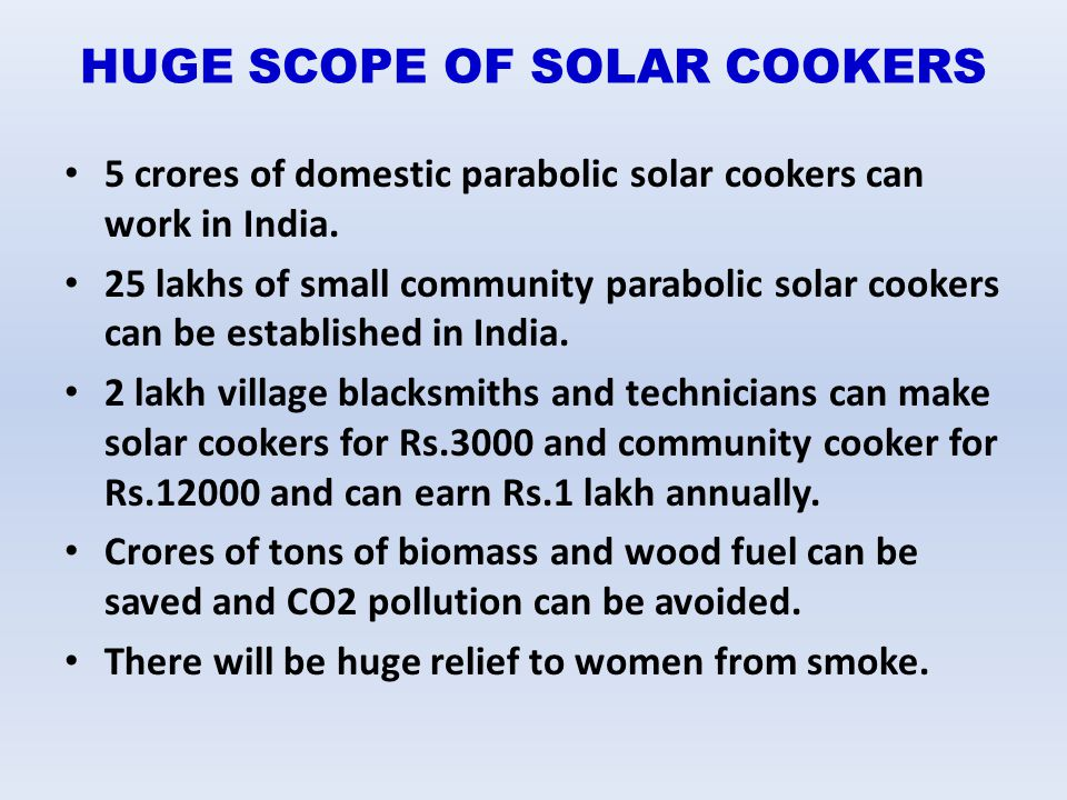 HUGE SCOPE OF SOLAR COOKERS