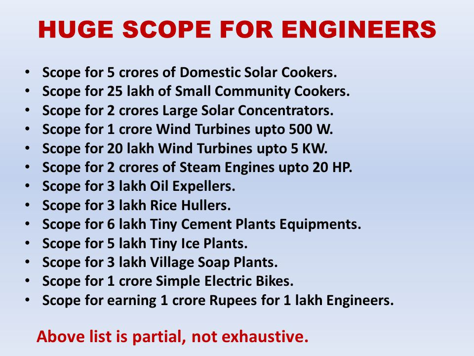 HUGE SCOPE FOR ENGINEERS