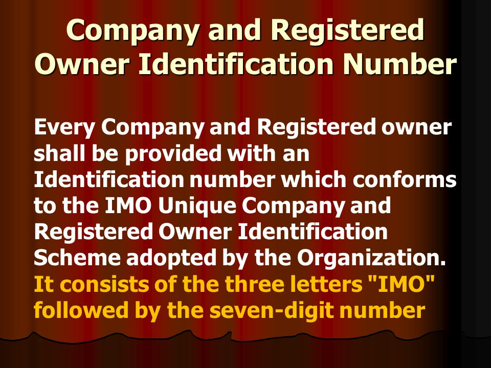 Company and Registered Owner Identification Number