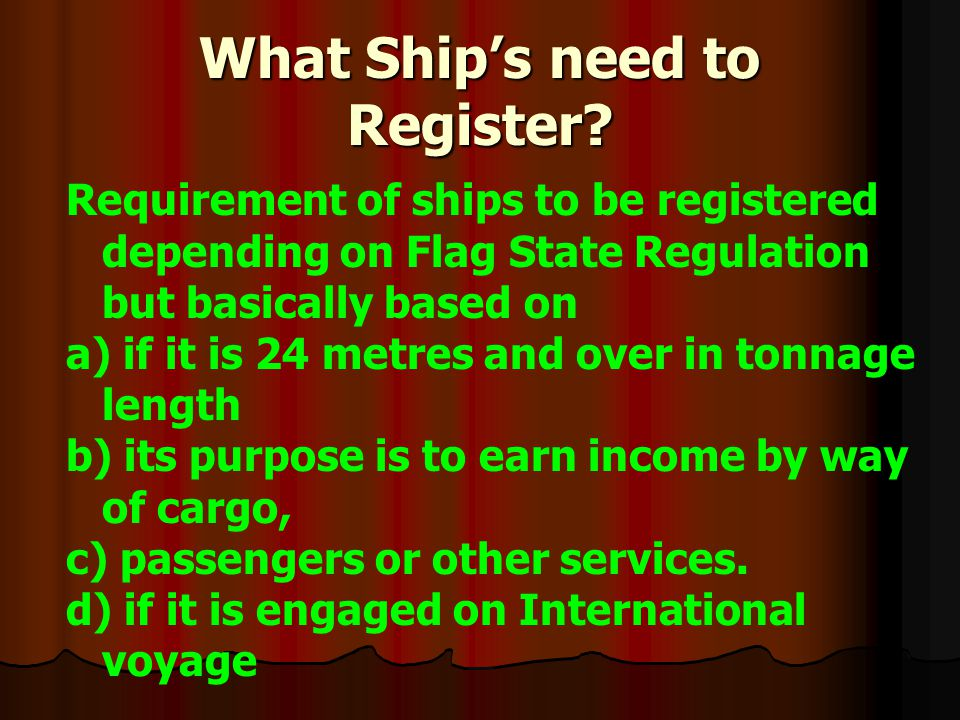 What Ship's need to Register