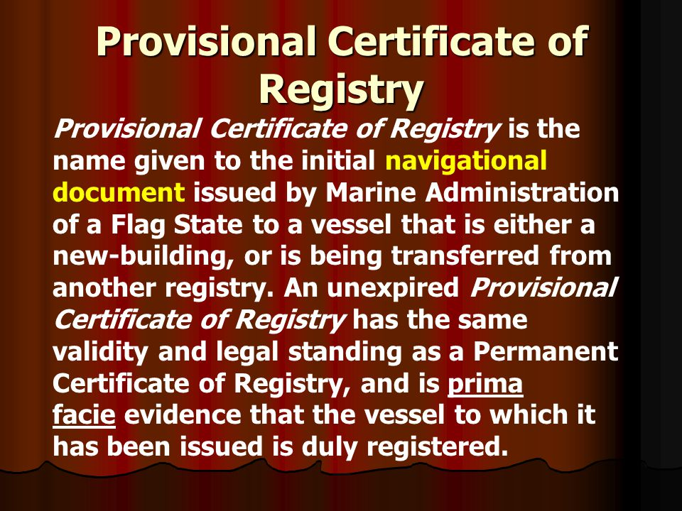 Provisional Certificate of Registry
