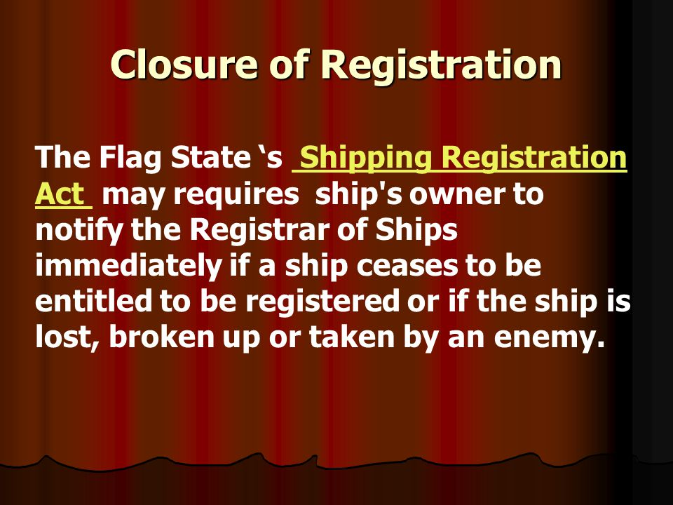 Closure of Registration
