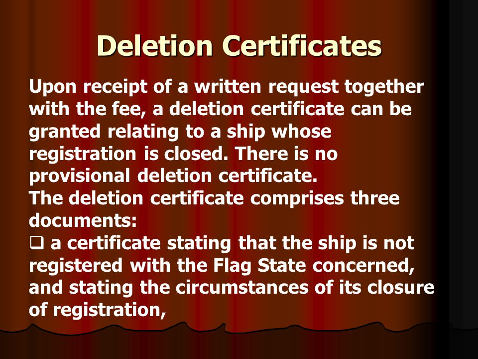Deletion Certificates