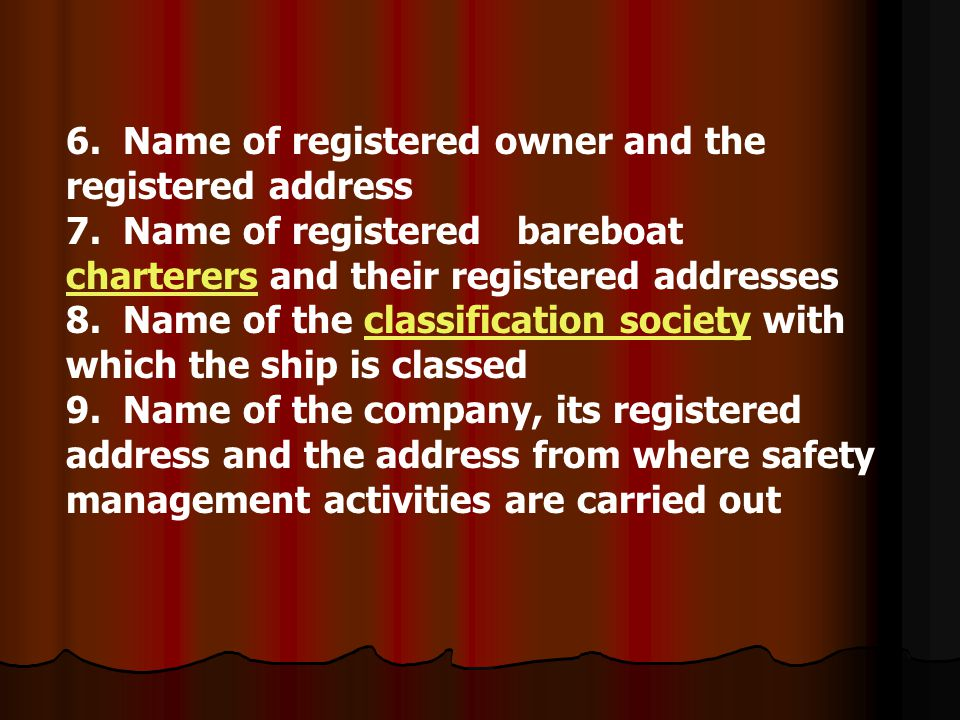 6. Name of registered owner and the registered address